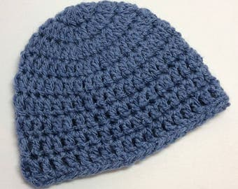 Newborn baby hat - Denim blue, hand made by AphraAlba in Great Britain