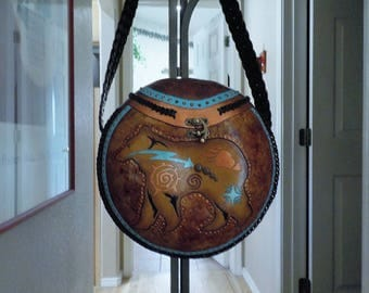 Gourd Purses, Gourds, Gourd Art,Decorated Gourds, Handcarved Gourds, Bear Gourds,