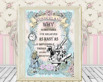 Alice In Wonderland print 6 impossible things quote vintage A4 size poster, white rabbit, room decor, party, bedroom, wall decor,