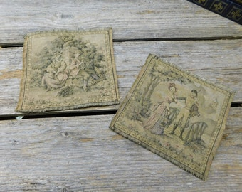 Set of 2 Beautiful Small Antique 19th Century French Tapestries
