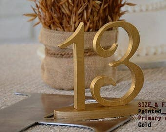 Gold Table Numbers Wedding, Table Numbers Gold, Wooden Table Numbers,Gold Wedding Decorations, Free Standing Wedding Table Numbers, SET 1-40