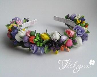 Valentines day Hairpiece woodland hair wreath Flower crown Floral crown Woodland wedding Flower accessories Wedding halo Bridal headband