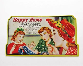 Happy Home Needle Book, Gold Eye Sewing Needle Book In Original Protective Sleeve