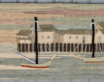 Don Freedman Nantucket Sailboats Wool Tapestry Fiber Arts  Textile Arts Woven Wall Hangings Mid Century Modern Wall Decor Boho Home Decor