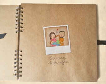 Family Photo album with custom illustrations inside, small drawings to customize your photo book