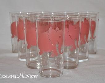 Vintage Federal Pink Elephant Tumbler Glasses - Set of 10