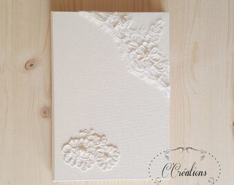 Guestbook format A5 for Wedding {A corner of lace} embroidered with pearls, color ivory