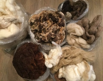 3 1/2 pounds of Raw Unwashed Wool Pieces Brown Tan Ivory Mixed