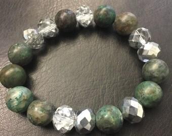 Gemstone and Crystal Beaded Bracelet