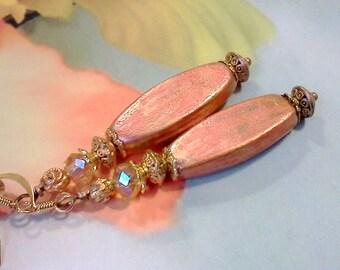 Hand Painted Earrings, Vintage Style Earrings, Coppery Peach, Lucite Earrings, Springtime Earrings, Gypsy Earrings, Boho Earrings, Handmade