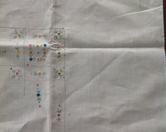 Vintage embroidered tablecoth.....White linen.....square