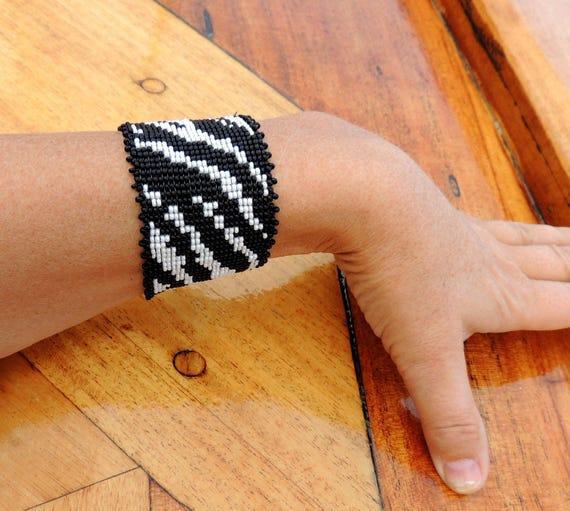 Zebra Skin Bead Bracelet Original Fashion Design Extravaganza Gift Designer Cuff Wide Men Women