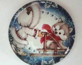 Christmas Glass Cabochon 25mm
