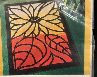 PUNCH NEEDLE KIT, flower rug kit, punch needle flower kit, sunflower rug kit, sunflower kit, vintage punch needle kit, craft supplies