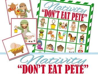 Nativity Christmas Party Game, Don't Eat Pete, Group Game, Church Christmas Party, Religious Bingo, Christian Bingo, Nativity Bingo