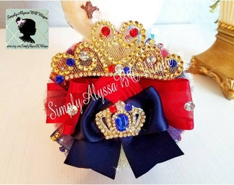 "New! 5""width 5"" length Red/White/ Navy blue with gold Pageant Organza hair bow with silver diamond mesh"