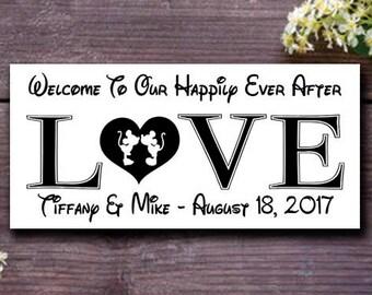 Disney Wedding Sign,Happily Ever After Wedding Gift,Disney Wedding Reception Sign,Disney Engagement Bridal Shower Gift, Disney Wedding Decor