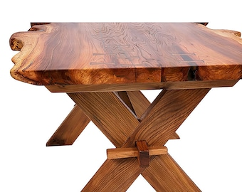 Live Edge 'Tusk' Tenon X Trestle Table