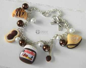 Bread and Nutella, chocolate, silver bracelet