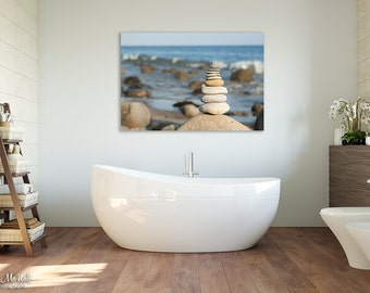 balance serenity spa decor peaceful scene stacked beach rocks shoreline - Spa Decor