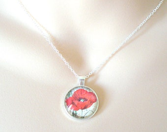 Red Poppy Necklace, Floral Necklace, Flower Jewelry, Silver Necklace, Layering Necklace, Gift for Her