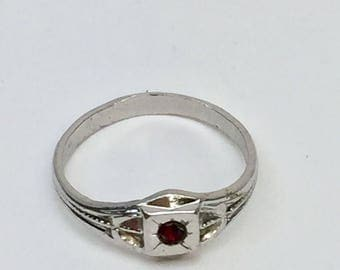 Sterling Silver Kiddiegem Infant Ring  with Red Stone Vintage