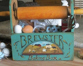 Hand painted Baking Box with farm scene on front with sheep, barn, baker with a pie