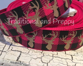 "7/8"" Glitter Moose deer buffalo plaid hot pink tan and black grosgrain"