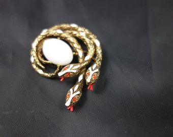 Absolutely stunning signed ART antique gold-tone red and white enameled Snake Serpent brooch