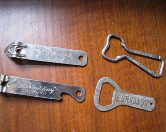 Vintage advertising can openers church keys. Instant collection! Lot of 4. Canada Dry, Gimme a GAM, Old Dutch Beer, Quick & Easy.