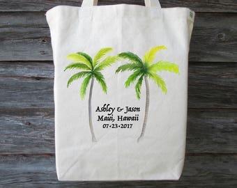 Destination Wedding Tote Bag, Palm Tree Wedding Tote, Wedding Welcome Bag, Palm Tree Tote, Wedding Gift Bag, Hawaii Tote, Wedding Bag