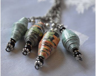 """Handmade Paper Bead """"Cluster"""" Necklace - Black, Orange and Green"""