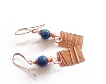 ethnic earrings, little earrings, chrysocolla earrings, semi precious stone earrings, foldered copper, copper earrings, gift idea for her