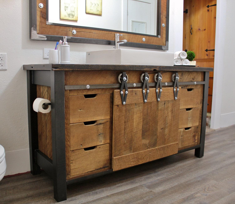 rustic industrial vanity reclaimed barn wood vanity. Black Bedroom Furniture Sets. Home Design Ideas