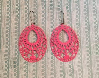 Hot Pink Hand Painted Filigree Earrings