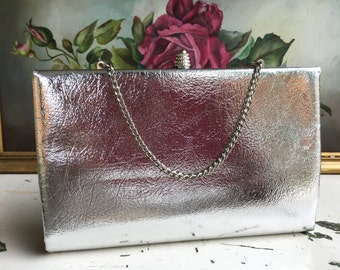 Vintage Silver Lamé Clutch, Purse Minty Conditon