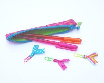 Pencil case, pencil zipper bag, canvas pencil pouch, zipper, planner pens, birthday gift