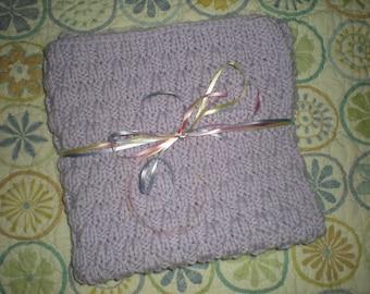 Handknit Infant Blanket, Knit Bassinet Blanket, Handknit Stroller Blanket, Purple Knit Baby Blanket, Lilac Handknit Baby Blanket