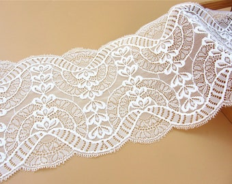 white wedding Lace trimming,Stretch Lace Trim - Extra Wide Lace Trim, 18cm Wide Lace Trim- off white/black