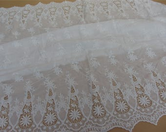 hollow up lace fabric,white embroidery wedding dress lace fabric,DIY skirt craft