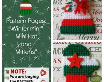 "Plastic Canvas Pattern Pages: ""Wintermint"" Mini Mittens and Hat (3 designs, graphs and photos, no written instructions) **PATTERN ONLY!**"