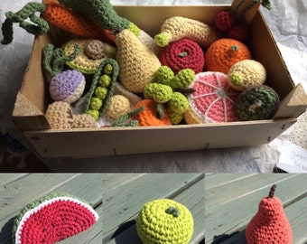 Realistic Play Food Fruit or Vegetable - Amigurumi Soft Toys - Hand crocheted with Cotton