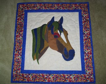 Horse quilt-machine appliqued and quilted-art quilt-wall quilt-Horses