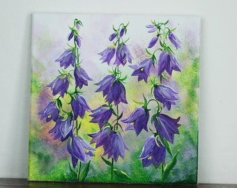 Hand-painted tile with bluebells and cork backing
