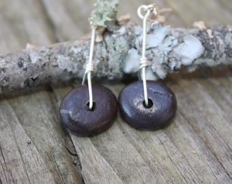 Lake Superior  stone earrings, Northwoods jewelry, river rock earrings, beach stone, black rock earrings, rock jewelry, Great Lakes