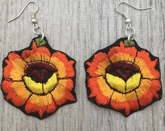 Marigold Flower Embroidered Earrings