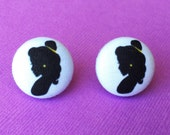 """Beauty & the Beast Collection """"Belle Silhouette"""" Fabric Button Earrings 3/4"""""""