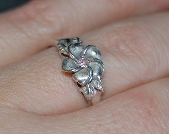 Sterling Silver Vintage Classic Daisy Frangipangi Lai Plumeria Floral Pink CZ Flower Ring #BKC-RNG214