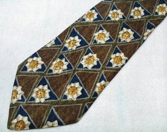 Vintage Ermenegildo Zegna Necktie Floral Pattern Silk Tie Made In Italy