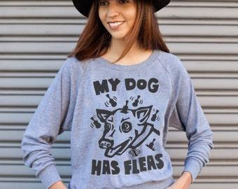 Ukulele T-Shirt - Dog T-shirt - My Dog Has Fleas - Gray Women's Long Sleeve Shirt